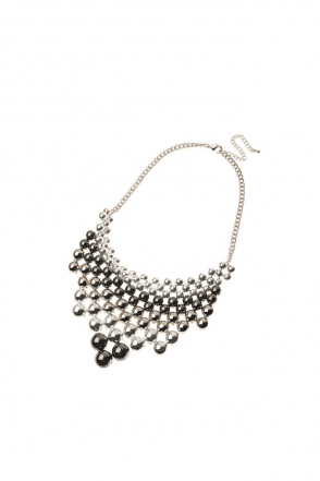 3 Tone Metal Beads Statement Necklace
