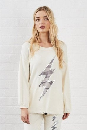 SALE POSTCARD FROM BRIGHTON VESPER CAMO LIGHTNING BOLT SWEAT