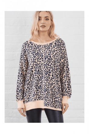 SUNDAE TEE KIM ANIMAL PRINT SWEAT TOP