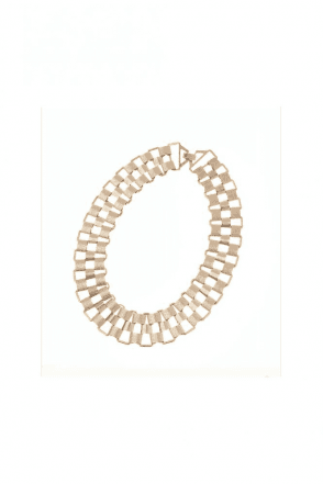 Abstract Semi Matt Gold Textured Link Necklace