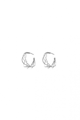 Abstract Wire Design Silver Hoops