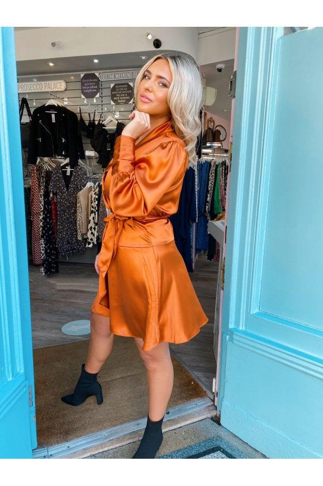 Ali Wrap Mini Dress Copper