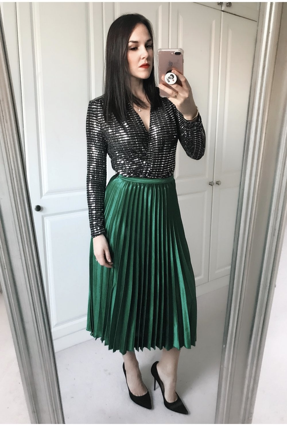 57916d599dd4 Amazing Green Satin Pleat Skirt - from Ruby Room UK