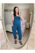 Andi Cotton Jersey Dungarees Denim Blue