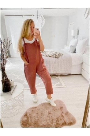 Andi Cotton Jersey Dungarees Pink
