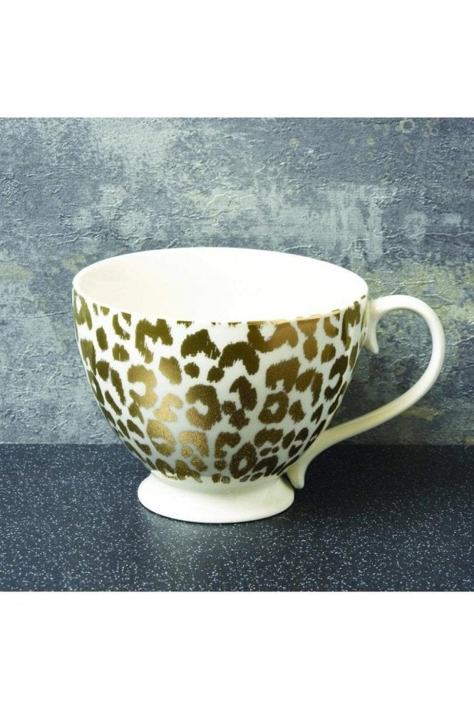 Animal Luxe Footed Mug Leopard Gold
