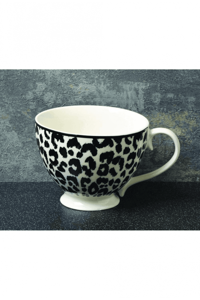 Animal Luxe Footed Mug Leopard Print Black