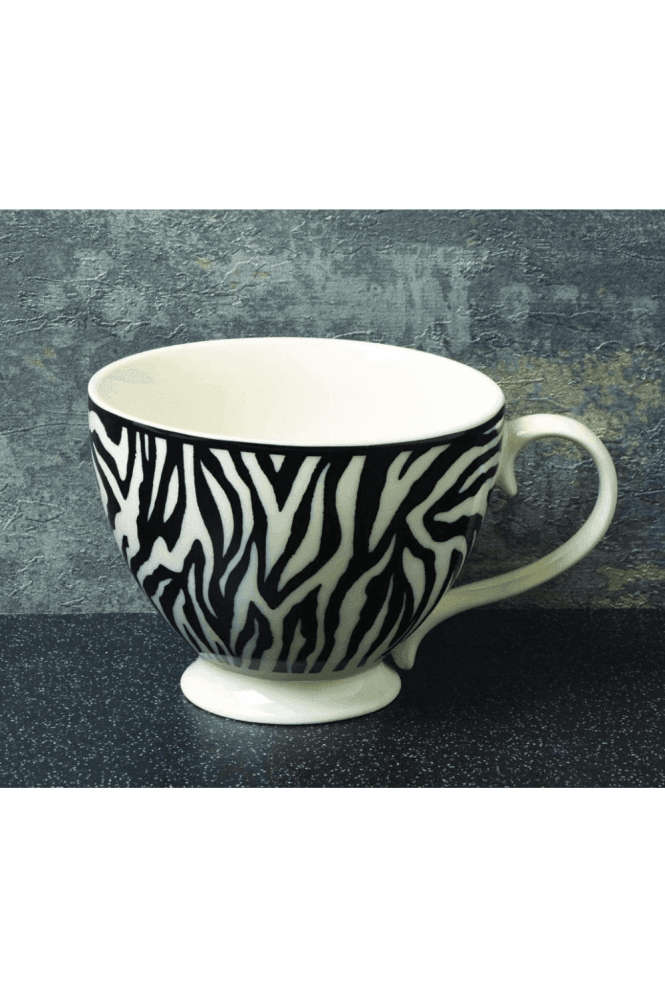 Animal Luxe Footed Mug Zebra Print Black