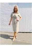 Arina Coated Short Sleeve Beige Dress