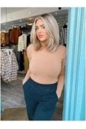 Basic Knit Stretch Roll Neck Tan