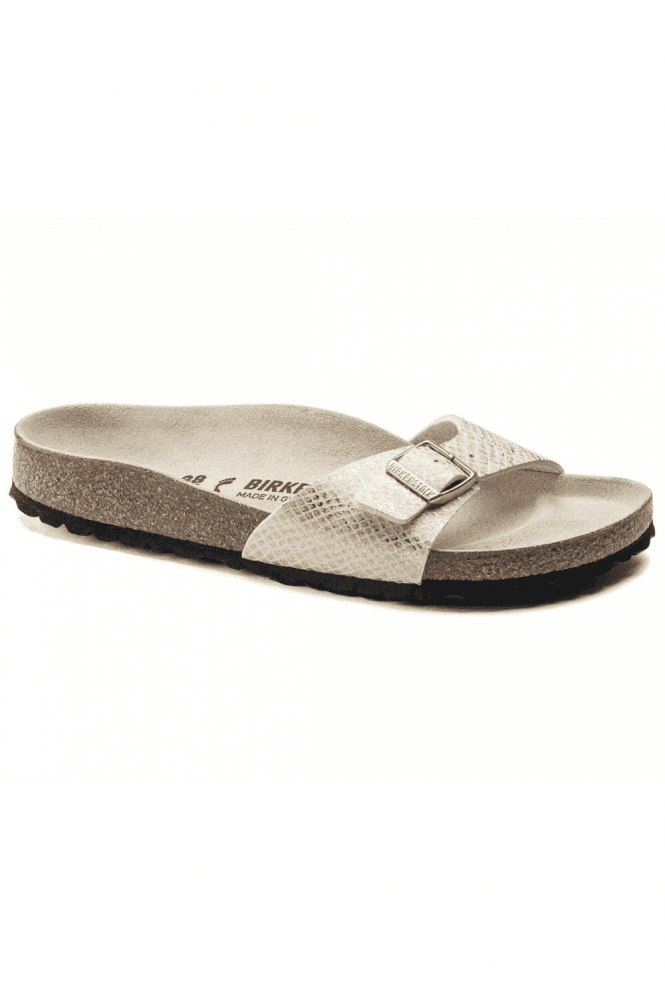 Birkenstock Shiny Python Madrid Sandals - Eggshell/Gold
