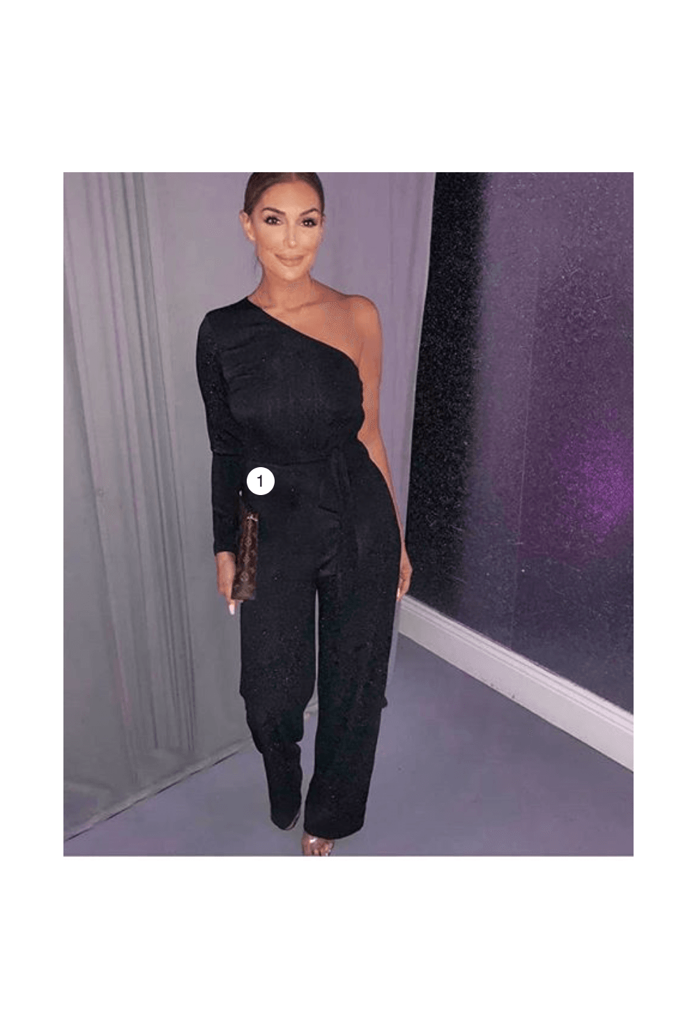 bfd877a66904 Black Glitter One Arm Jumpsuit - from Ruby Room UK