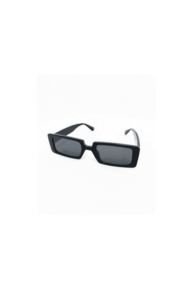 BLACK RETRO SQUARE SUNGLASSES WITH SMOKE LENS