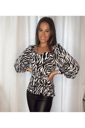 BLACK SALE Diana Tie Waist Puff Sleeves Top Zebra