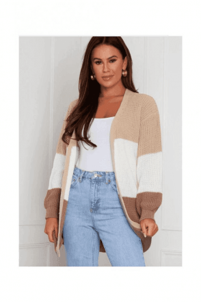 BLACK SALE Emery Panelled Longline Cardigan BEIGE