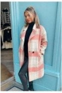 BLACK SALE Romi Oversized Checked Coat Pink