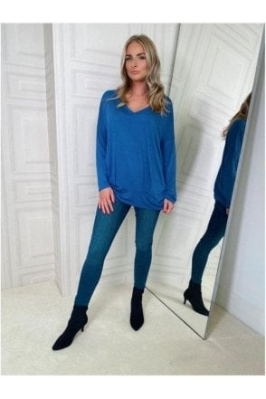 BLACK SALE V-neck Long Sleeve Top Blue