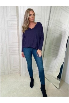 BLACK SALE V-neck Long Sleeve Top Purple