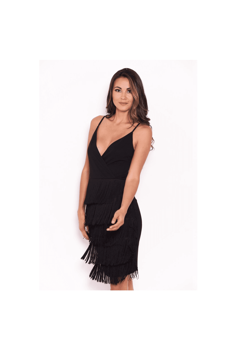 389dc76f12c Black Tassel Front Wrap Dress - from Ruby Room UK