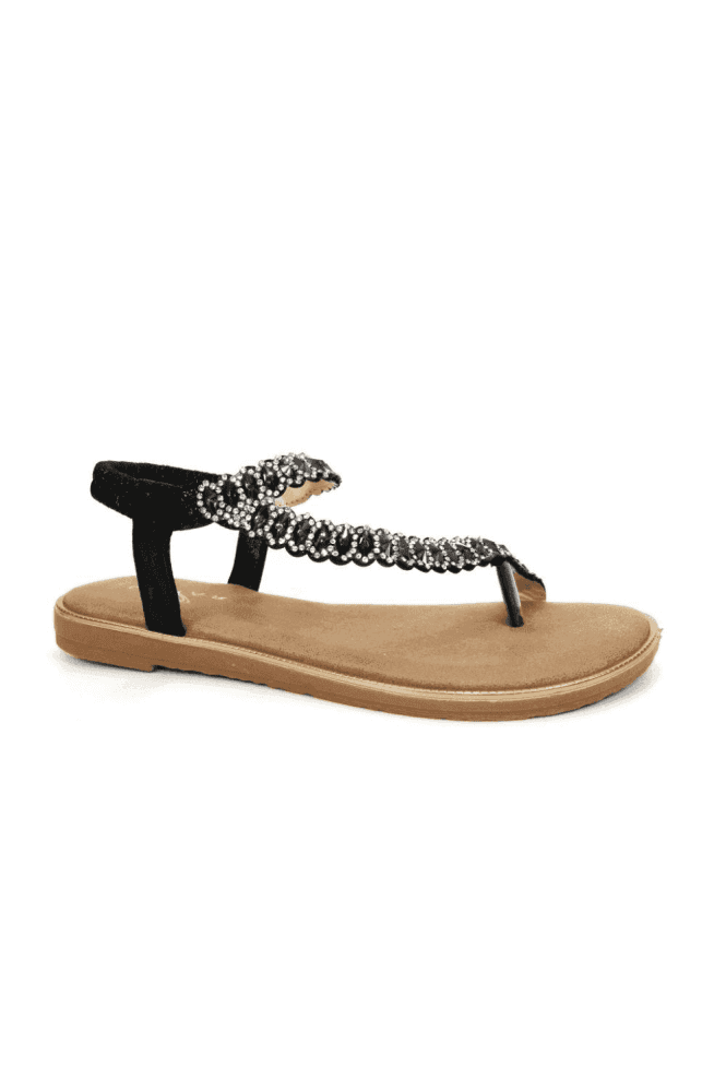Black Yasmine Toe Loop Sandal