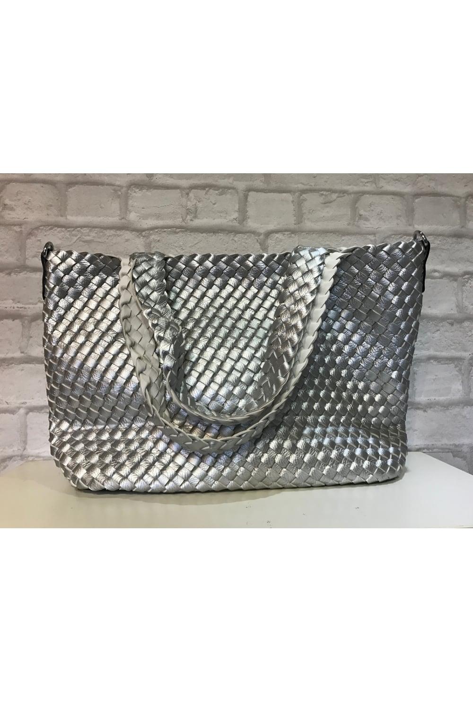 87a84423bf35 Bottega Veneta Inspired Weave Shoulder Bag Silver - from Ruby Room UK