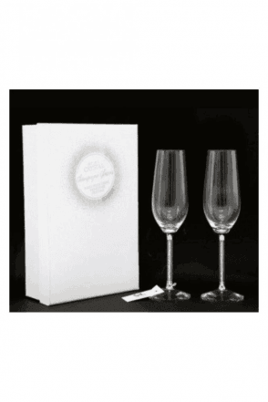 Boxed Pair Of Swarovski Crystal Champagne Glasses