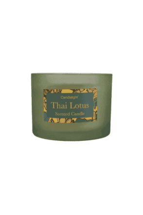 Boxed Thai Lotus 2 Wick glass filled Pot Candle
