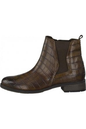 Brown Croc Ankle Boot....Marco Tozzi