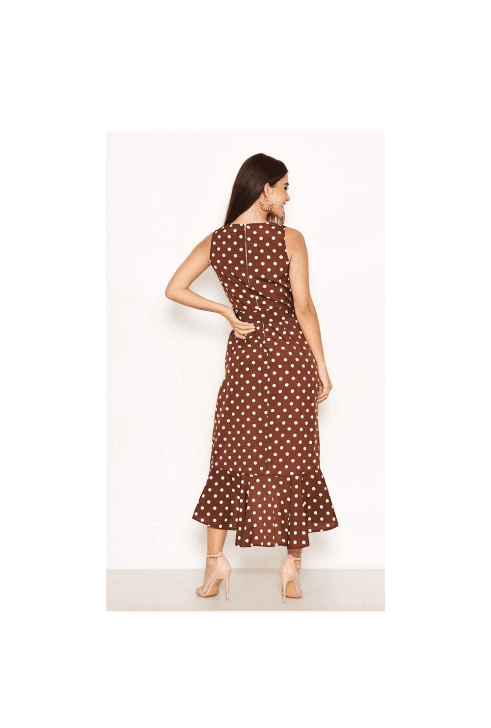 Brown Polka Dot Wrap Dress From Ruby Room Uk