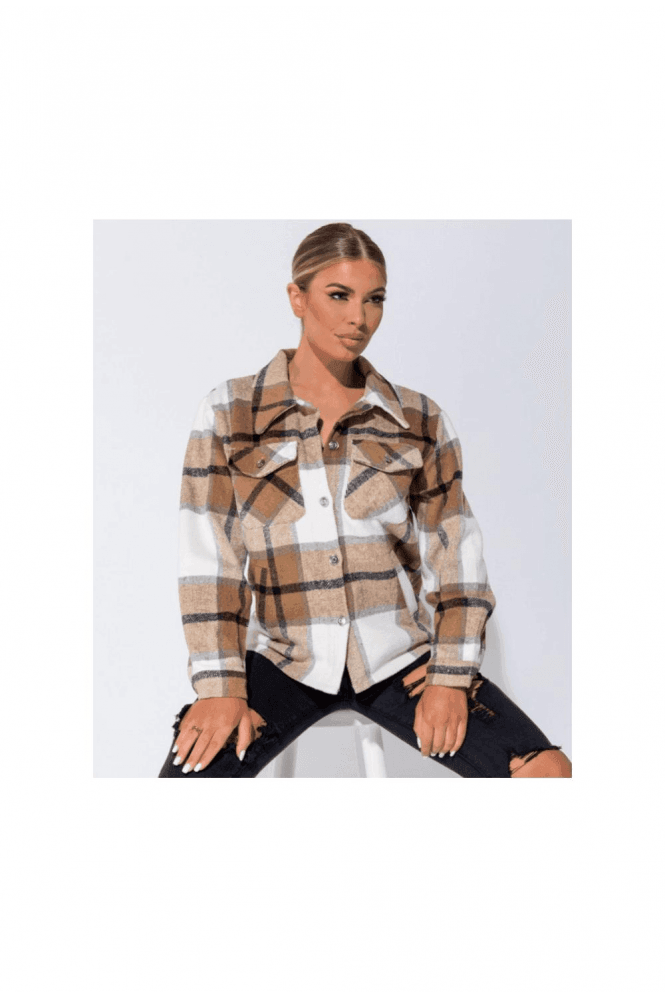 Camel Oversized Checked Patch Pocket Shacket