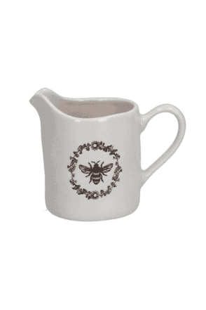 Ceramic Creamer Jug Small - Embossed Honey Bee