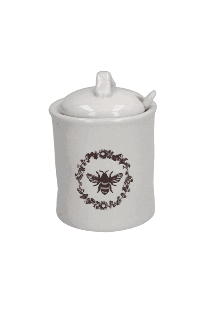 Ceramic Sugar Pot w Spoon - Embossed Honey Bee