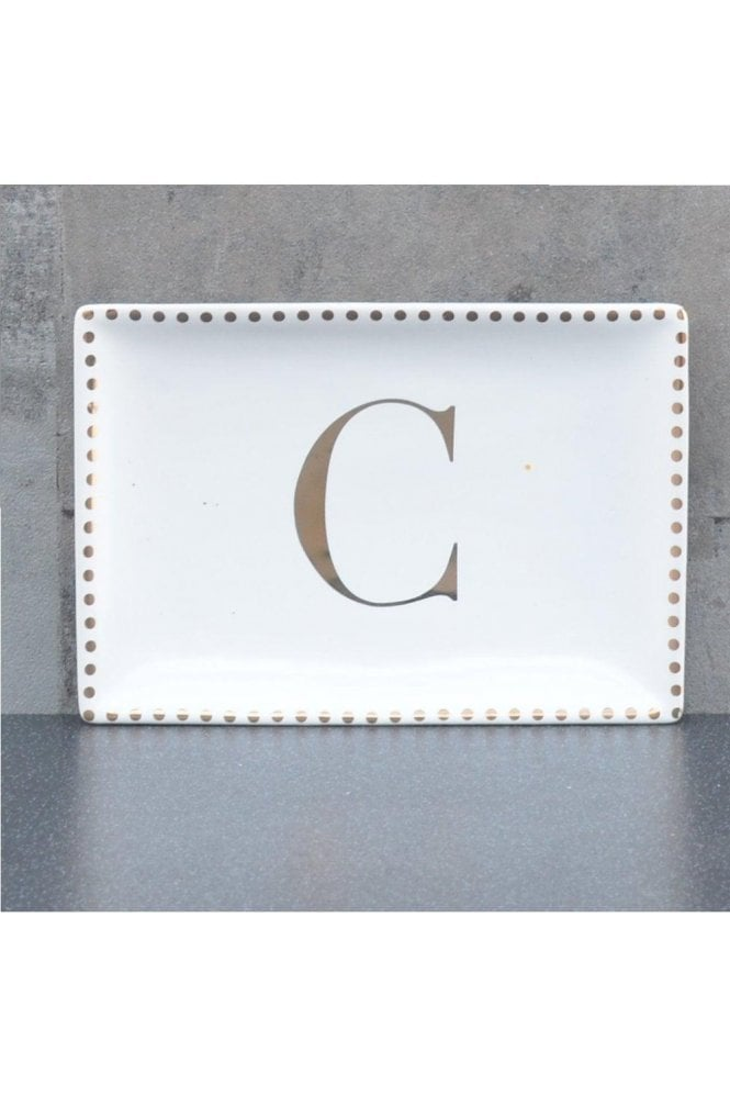 Ceramic Trinket Dish with Initial C – Gold Electroplating