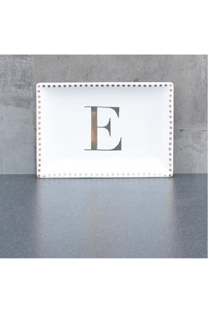 Ceramic Trinket Dish with Initial E – Gold Electroplating