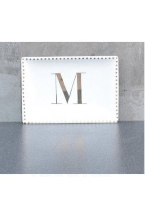 Ceramic Trinket Dish with Initial M – Gold Electroplating