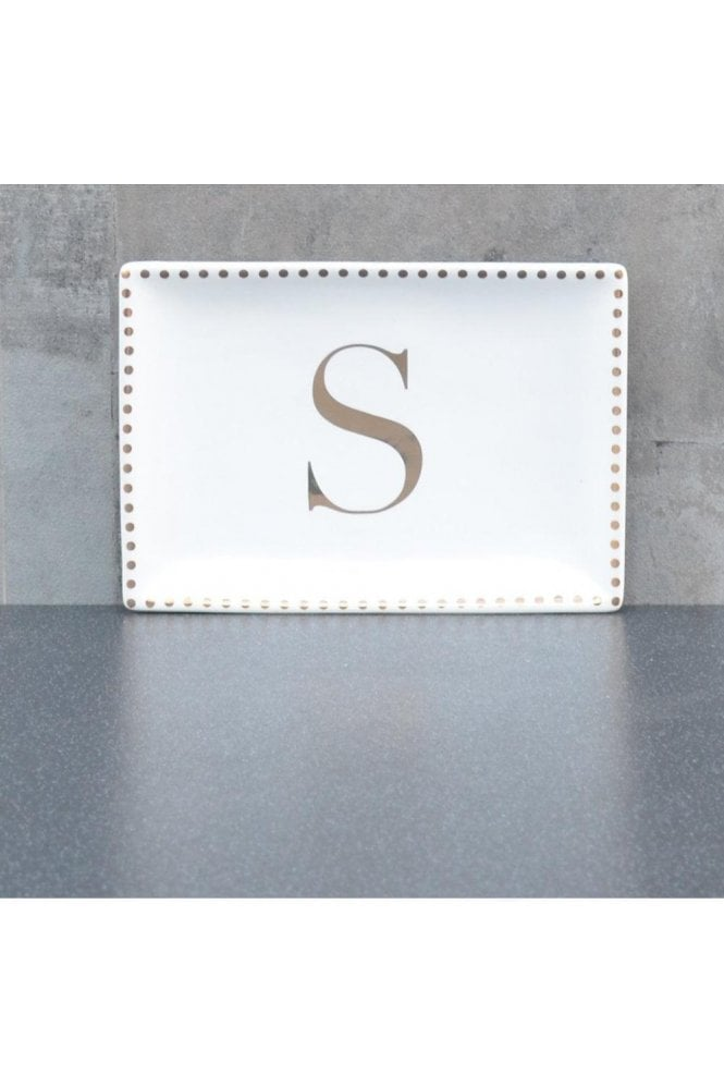 Ceramic Trinket Dish with Initial S – Gold Electroplating