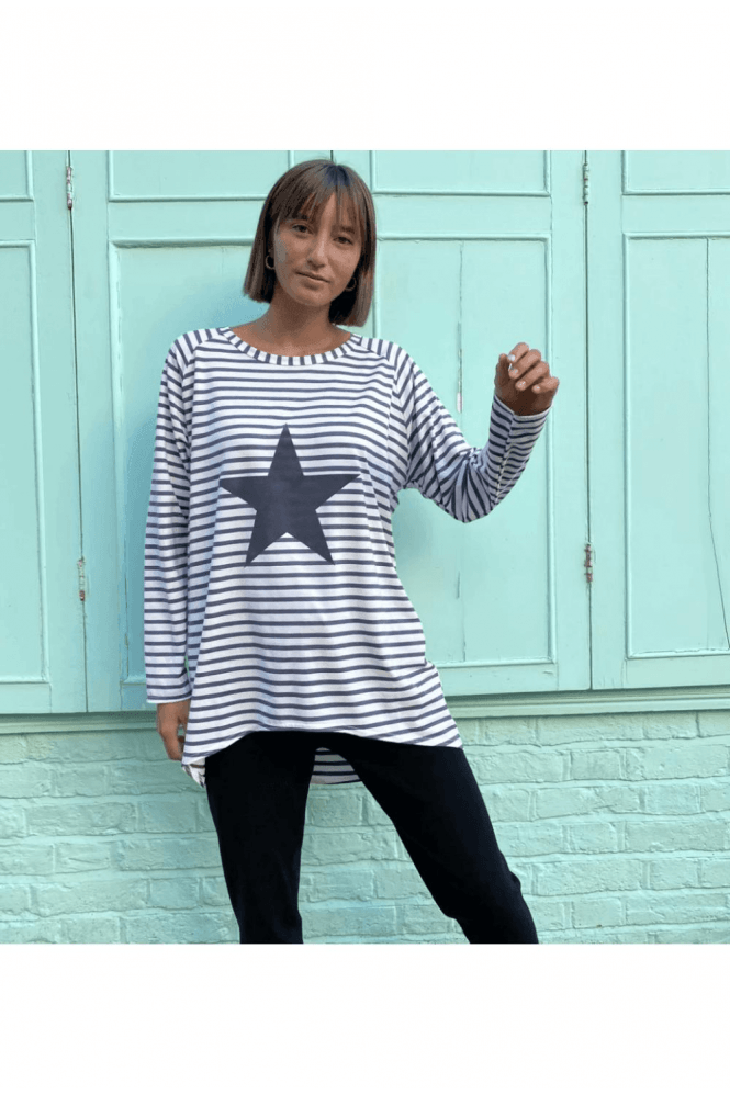 CHALK Grey Stripe Star Top