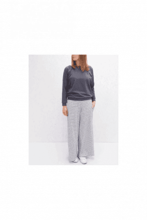 CHALK Luna Pants | Stripe | Charcoal - White