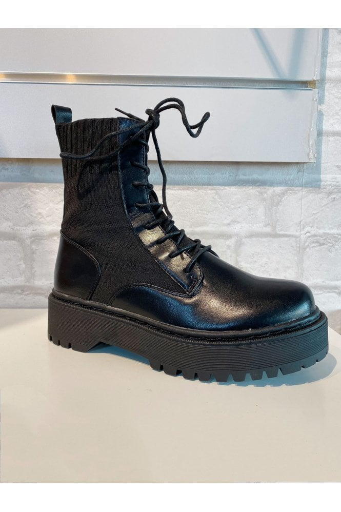 Chunky Lace Up Sock Boot Black