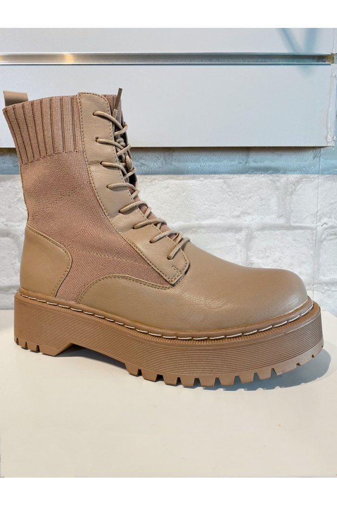 Chunky Lace Up Sock Boot Tan
