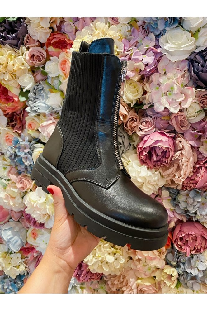 Chunky Zip Detail Sock Boot Black
