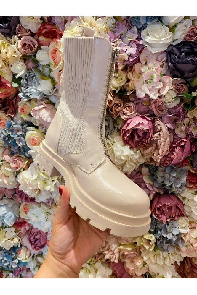 Chunky Zip Detail Sock Boot Cream