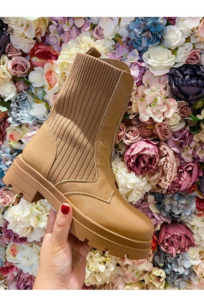 Chunky Zip Detail Sock Boot Tan