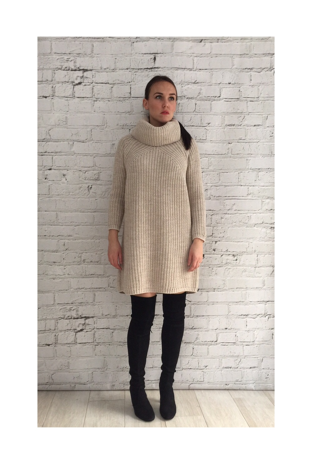 Cream Chunky Roll Neck Jumper Dress