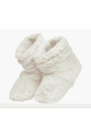 Cream Faux Fur Slipper Boots Microwaveable