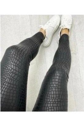 Croc Print Wet Look Leggings