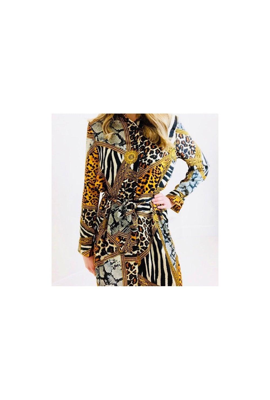 60bec965a61 Designer Inspired Print Shirt Dress · Designer Inspired Print Shirt Dress. ‹