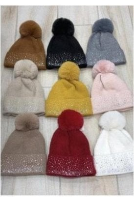 Diamante Soft Pom Pom Hat