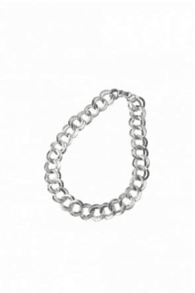 Double Link Chain Necklace In Matt Silver