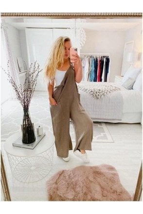 Eddie Wide Leg Linen Dungarees Taupe